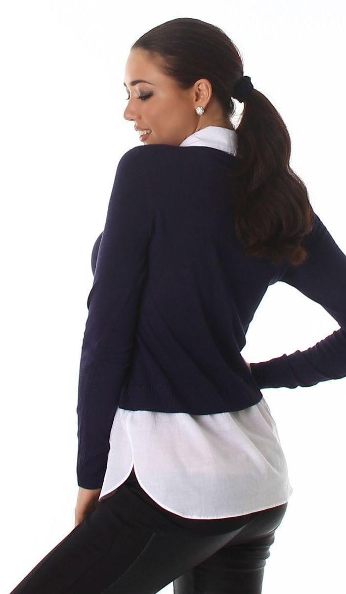 2in1 pullover mit modischen bluseneinsatz in marine ebay. Black Bedroom Furniture Sets. Home Design Ideas