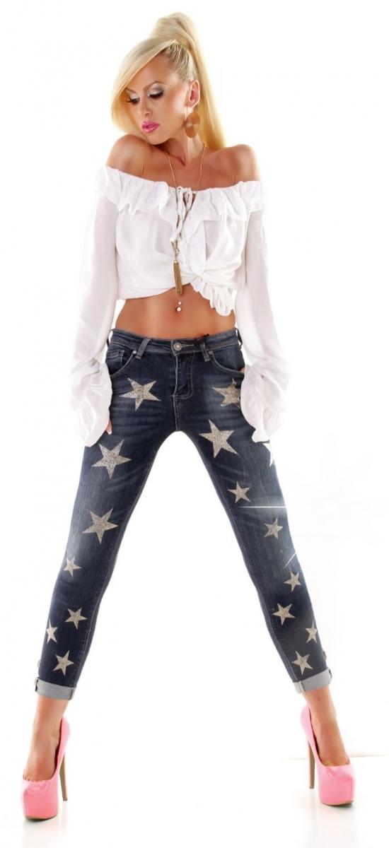 boyfriend jeans mit h bschen glitzer sternen in dark blue. Black Bedroom Furniture Sets. Home Design Ideas