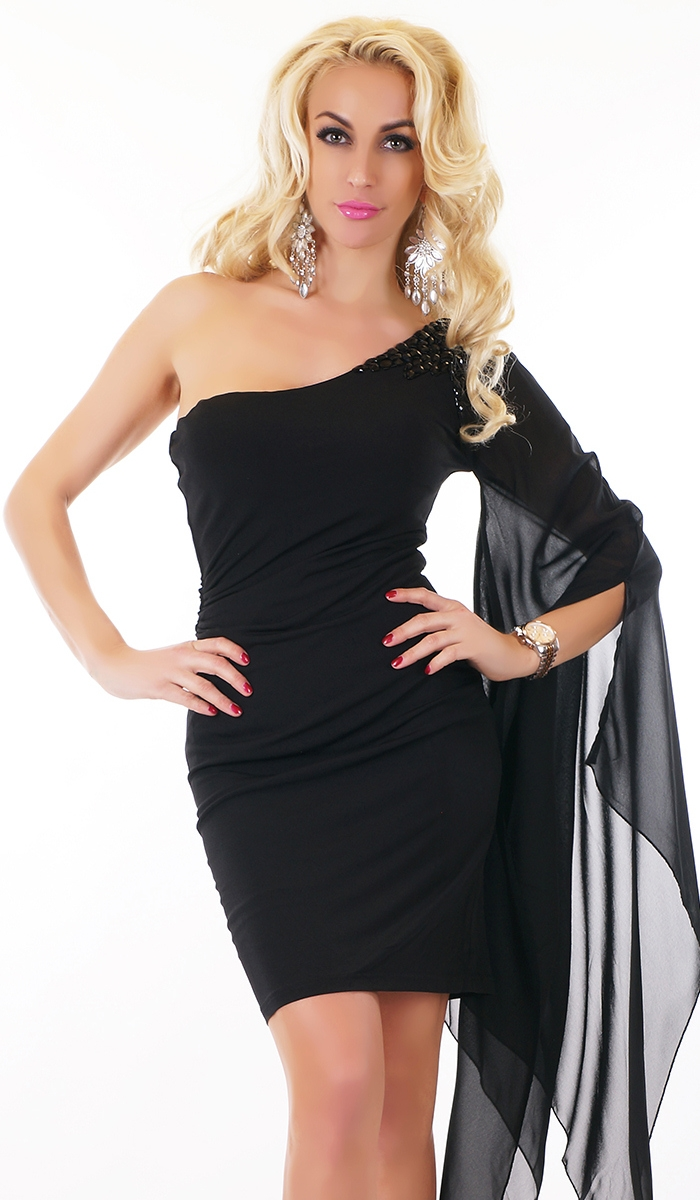 one shoulder kleid mit chiffon rmel in schwarz ebay. Black Bedroom Furniture Sets. Home Design Ideas
