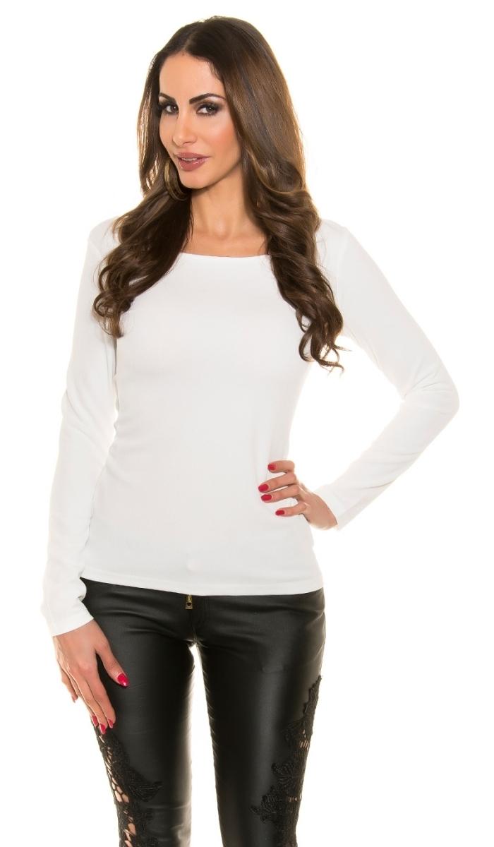 stretch shirt mit xxl r ckenausschnitt und kette in wei. Black Bedroom Furniture Sets. Home Design Ideas