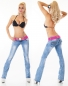 Bootcut-Jeans mit Zier-Zipper inkl. kontrastfarbenen Stretch-Gürtel in light blue