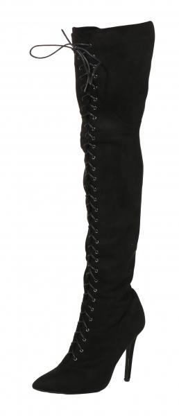 Auffälliger Stiefel In Schwarz Overknee Mit Schnürung VzpqSMUG