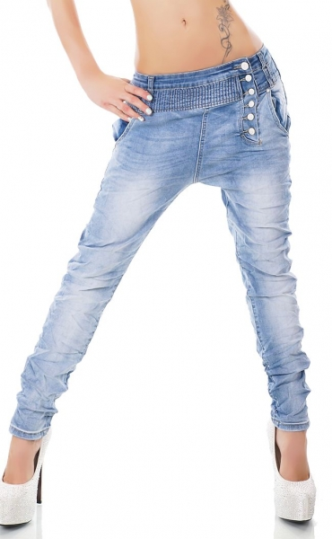 Baggy-Jeans mit diagonaler Knopfleiste in light blue