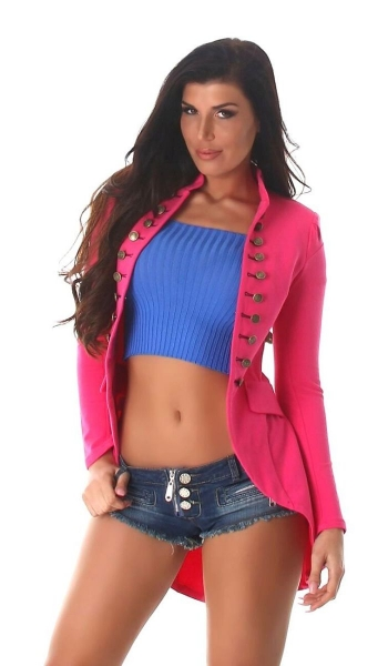 Moderner Millitary-Cardigan in High-Low Style - pink
