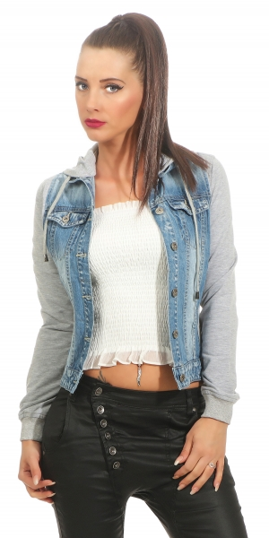Freche Jeansjacke mit Sweat-Einsätzen in blue washed