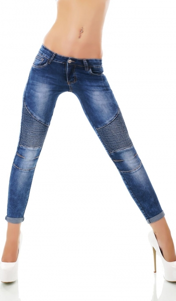 Sexy Skinny-Jeans mit Crinkle-Partien in blue washed