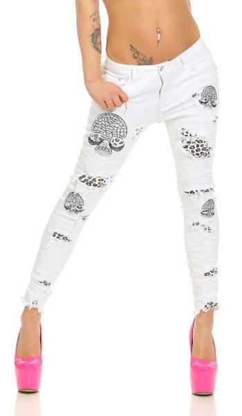 Damen Röhren Skinny Jeans 7 8 Strass Skull Animal Animal Animal Print Risse weiß 34 36 38 40   Ausgezeichneter Wert  c5440f