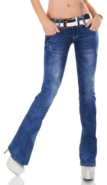 High Waist Skinny Jeans mit Elastik-Smoke-Partien in light blue