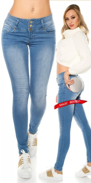 Sexy Magic Booty Push Up Skinny Jeans in hellblau