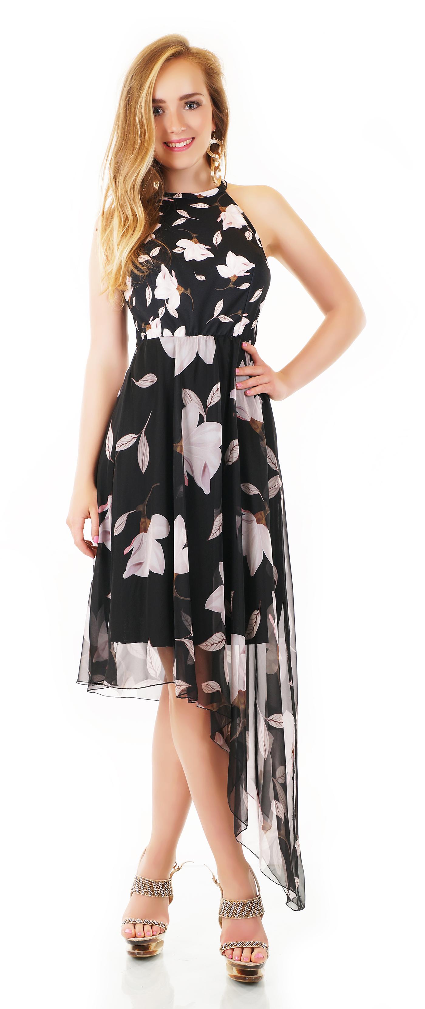 trendstylez - asymetrisches vokuhila-kleid mit blüten-prints
