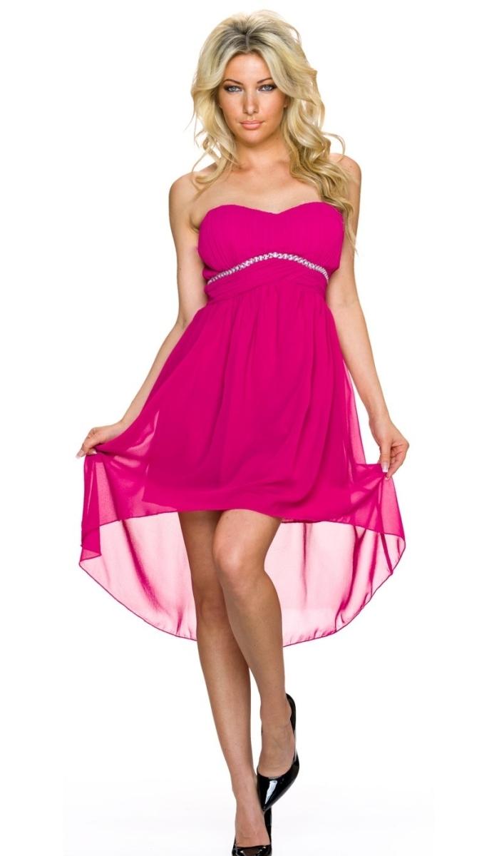 Elegantes Vokuhila-Kleid mit Schmuckstein-Bordüre - magenta