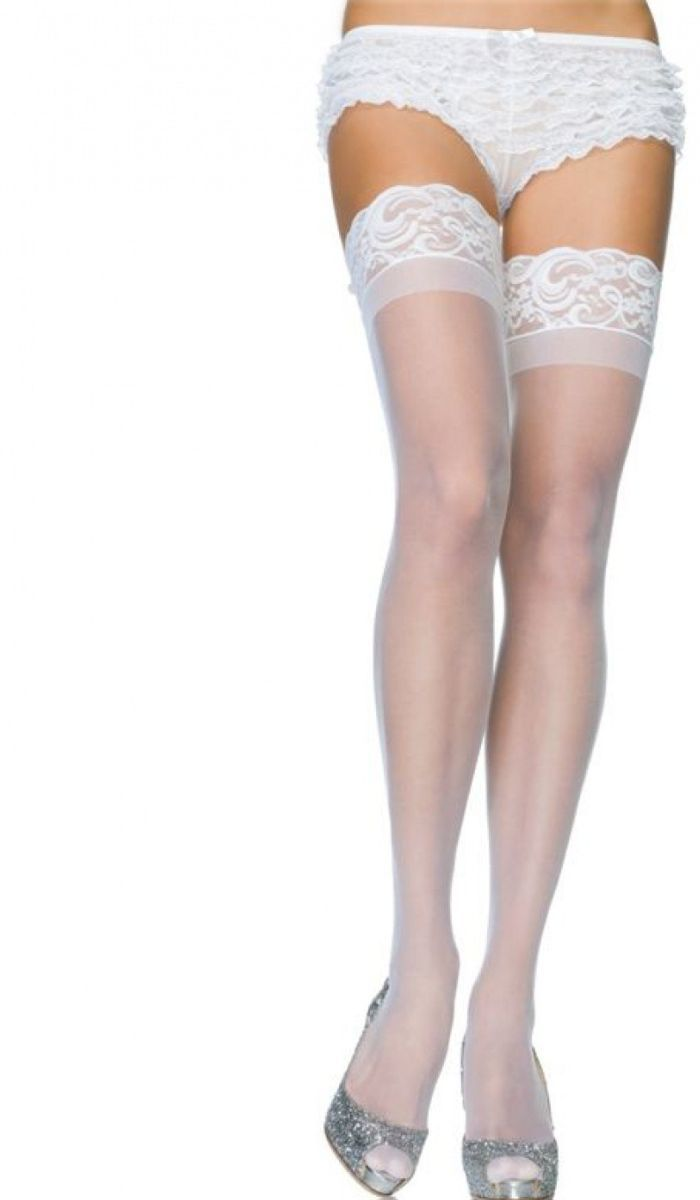Ausverkauf Temperament Schuhe Durchsuchen Sie die neuesten Kollektionen Halterlose Strümpfe mti floraler Bordüre - weiß