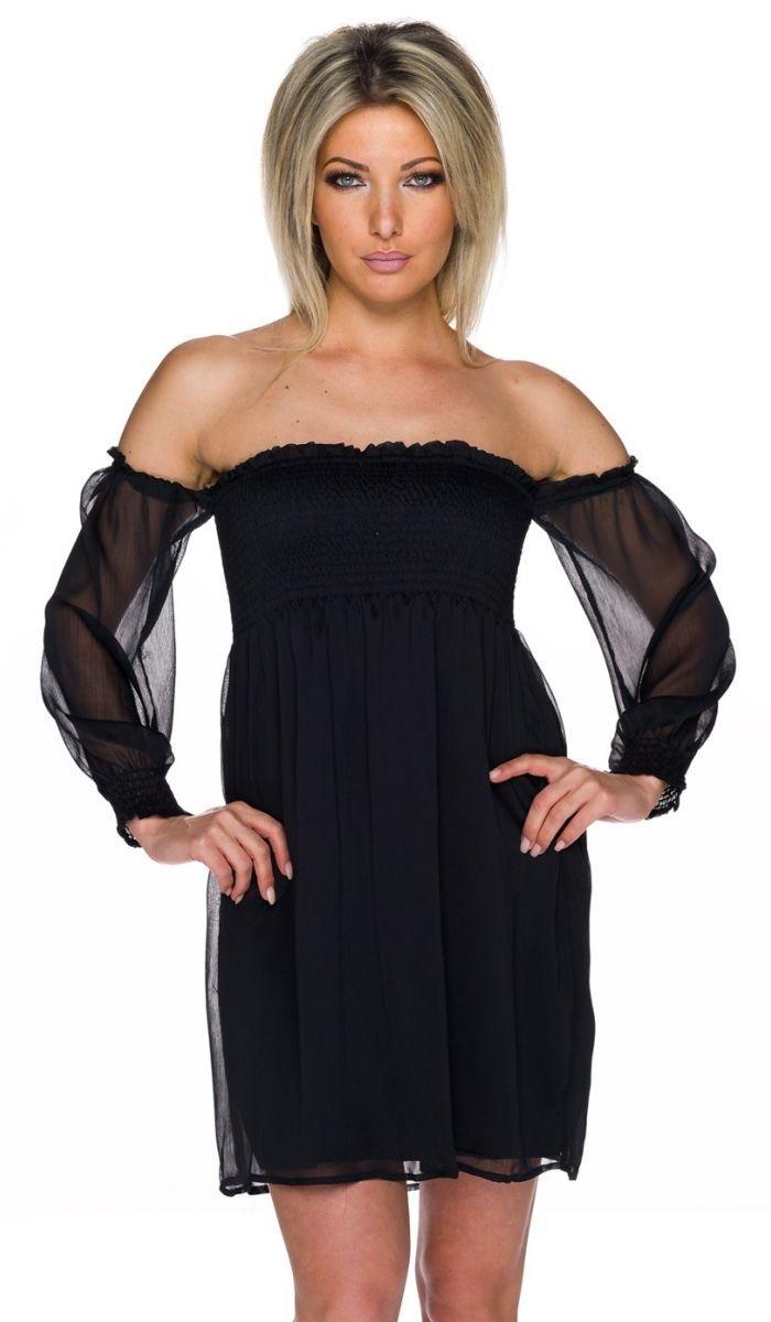 Schwarzes kleid mit chiffon armeln