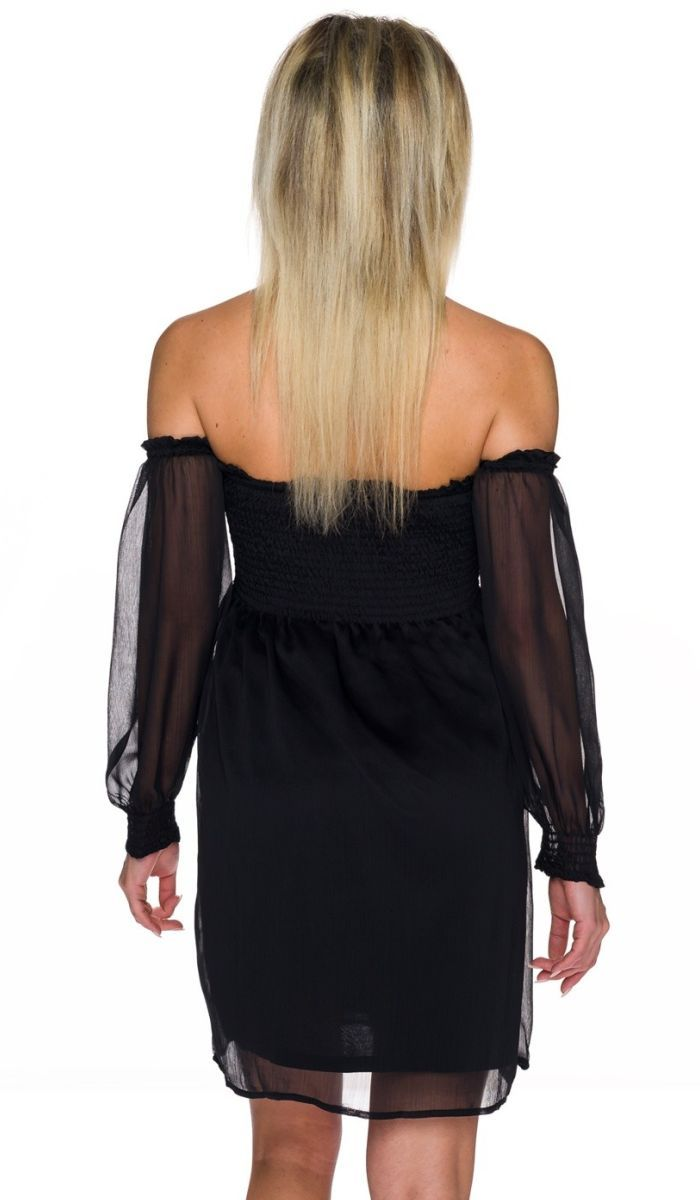 sommerliches kleid mit transparenten chiffon-Ärmeln - schwarz
