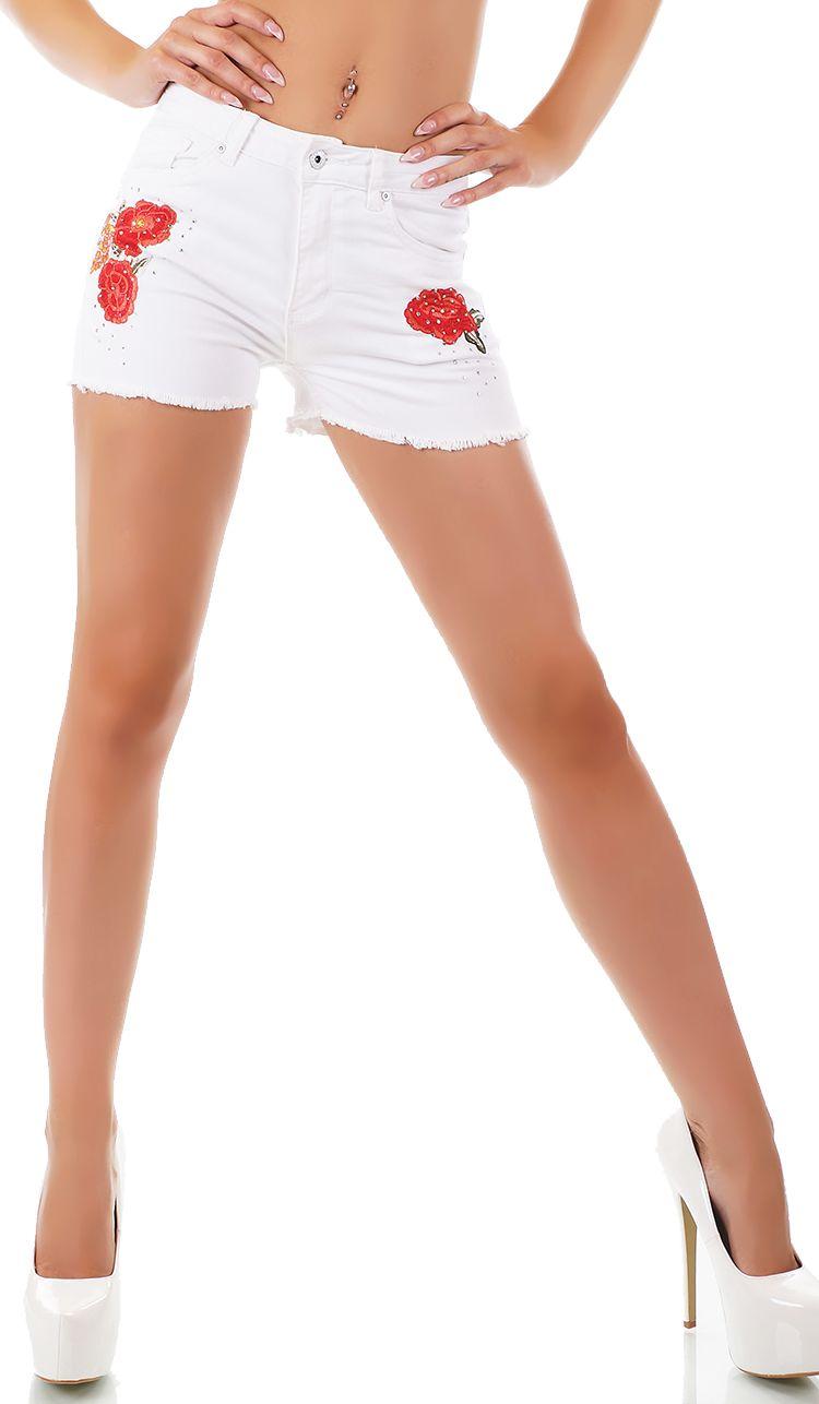 trendstylez s sse jeans shorts mit blumenstickerei und. Black Bedroom Furniture Sets. Home Design Ideas