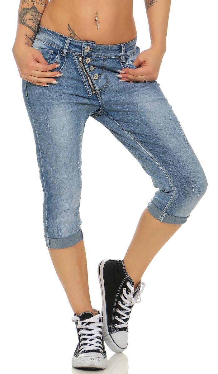 Capri-Jeans mit diagonaler Knopfleiste in blau