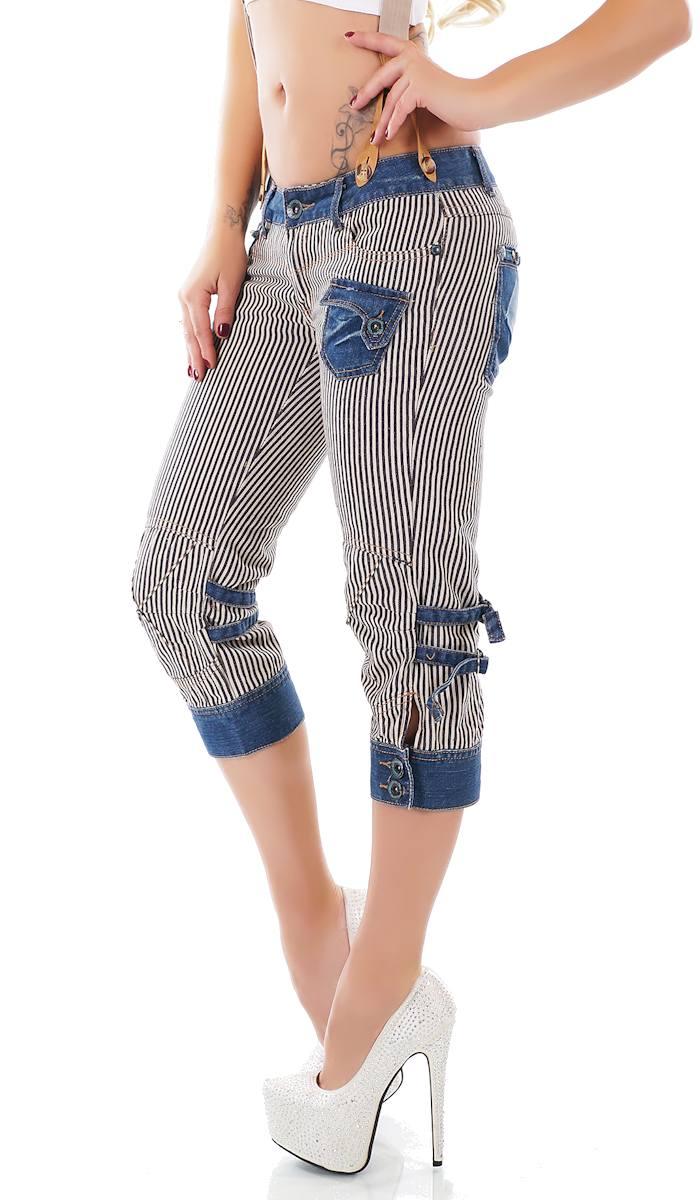 trendstylez capri jeans im modischen cargo design mit kontrast effekten in wei schwarz. Black Bedroom Furniture Sets. Home Design Ideas