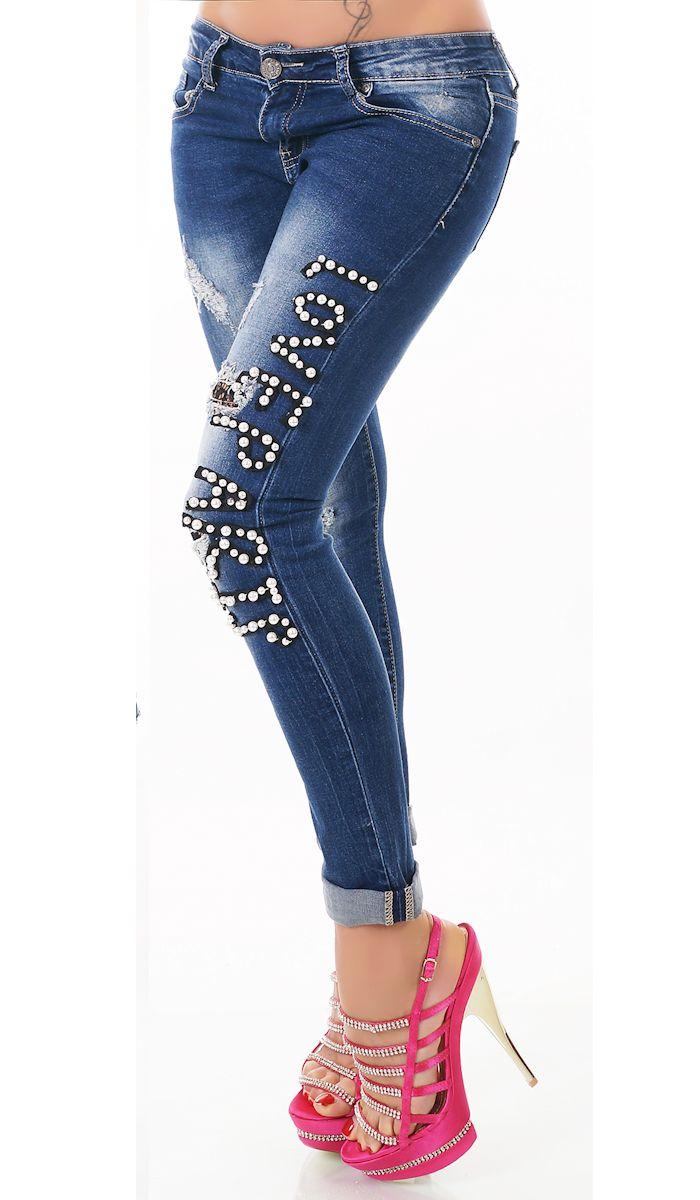 trendstylez vintage jeans boyfriend jeans mit schmuckperlen. Black Bedroom Furniture Sets. Home Design Ideas