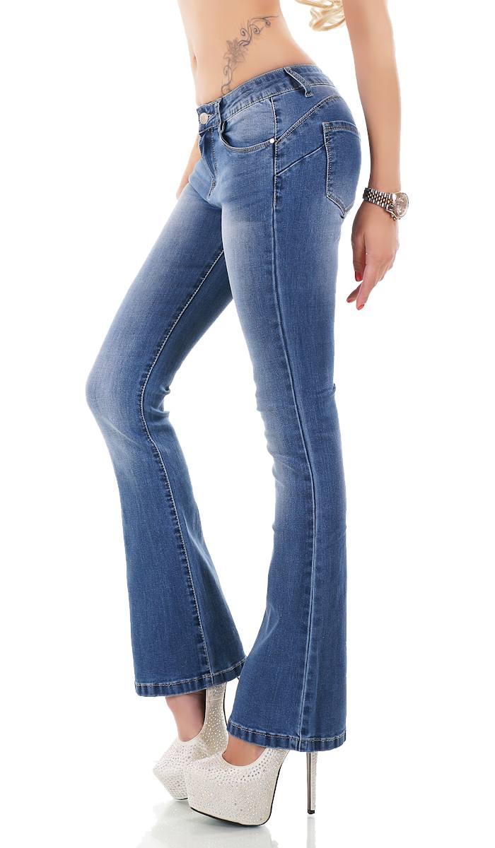 Damen Slim Fit High Waist Bootcut Jeans Knopf Reißverschluss