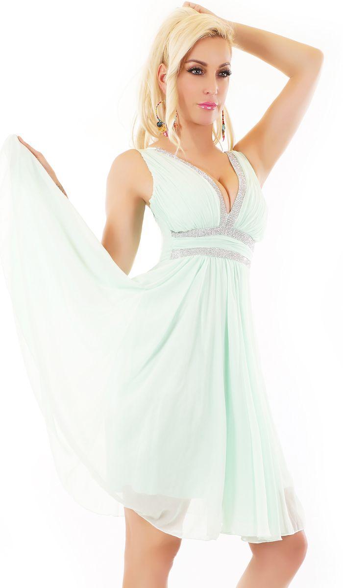 Trendstylez - Elegantes Chiffon-Kleid mit glamouröser Schmuckborte