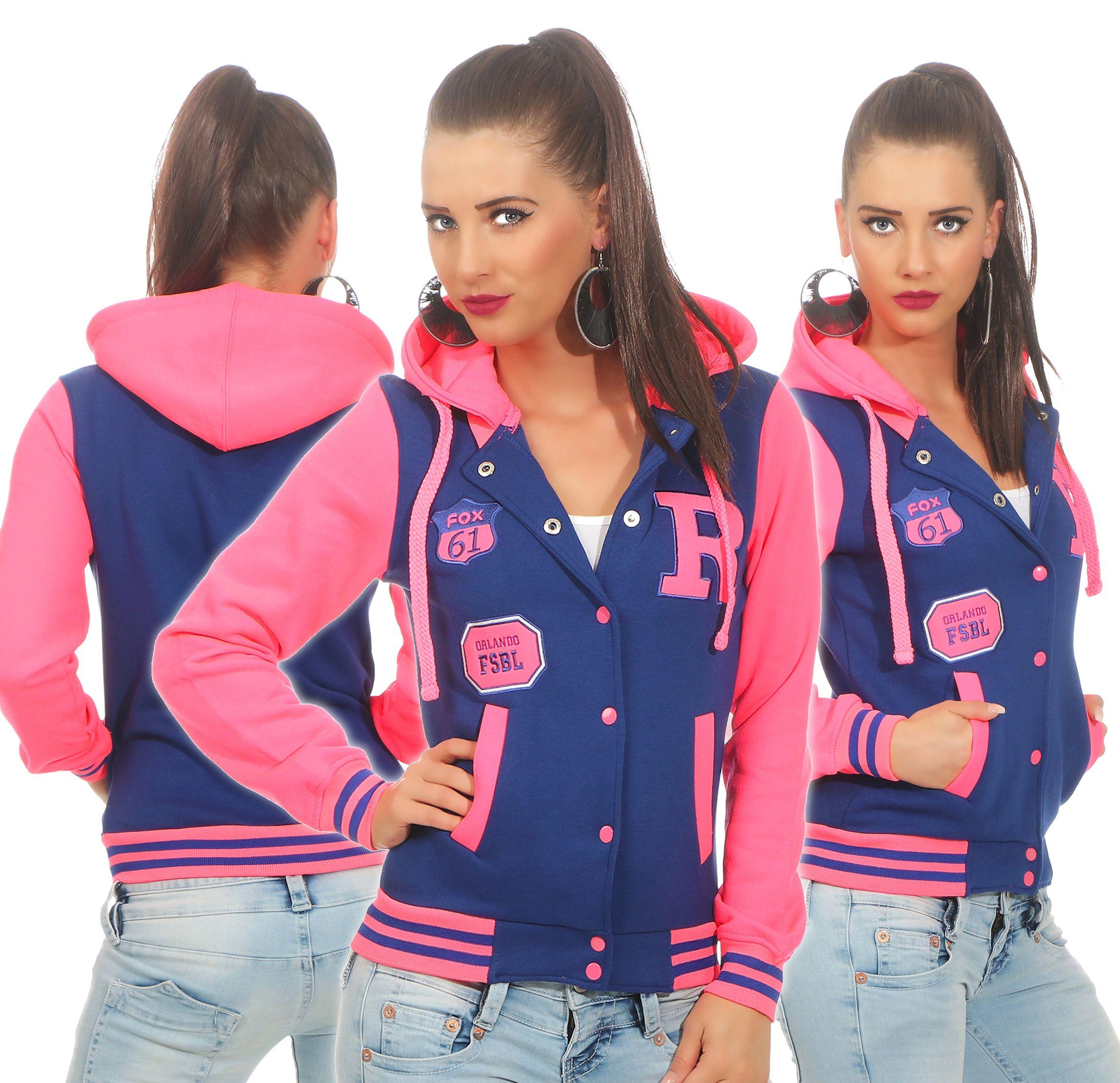 rosa jacke mit blau abschluss