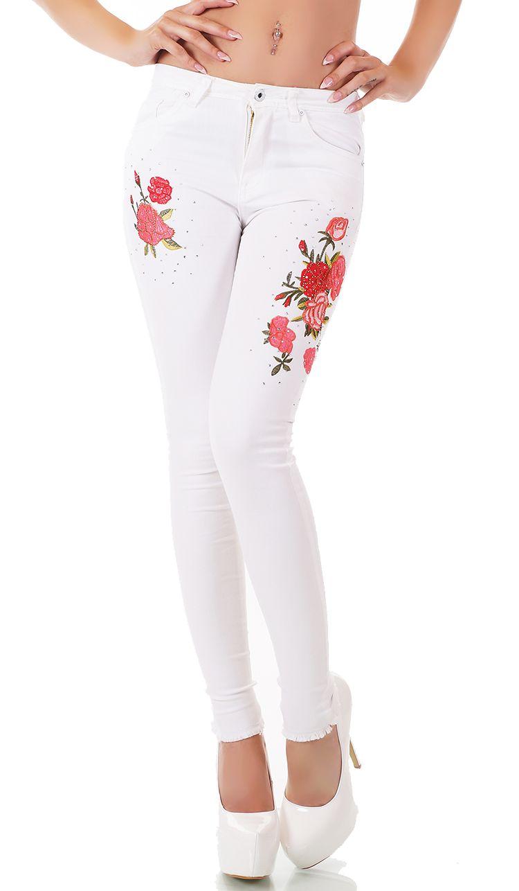 trendstylez s sse capri jeans mit blumenstickerei und. Black Bedroom Furniture Sets. Home Design Ideas