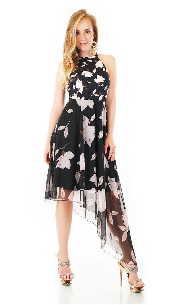 Trendstylez - Asymetrisches Vokuhila-Kleid mit Blüten-Prints in