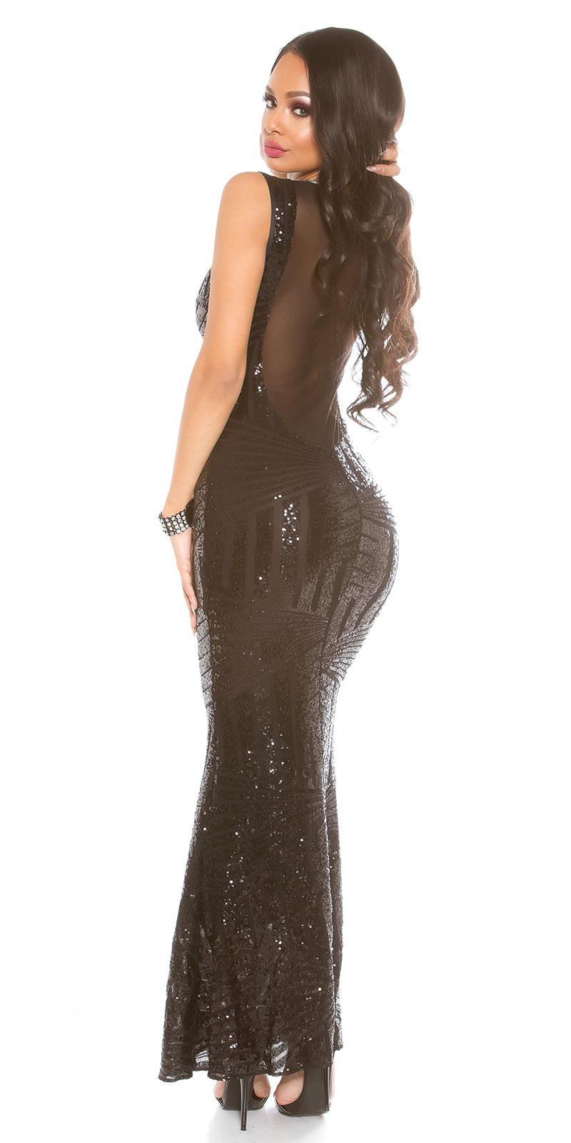 Super schönes Abendkleid mit Pailletten und tiefem Rückenausschnitt -  schwarz