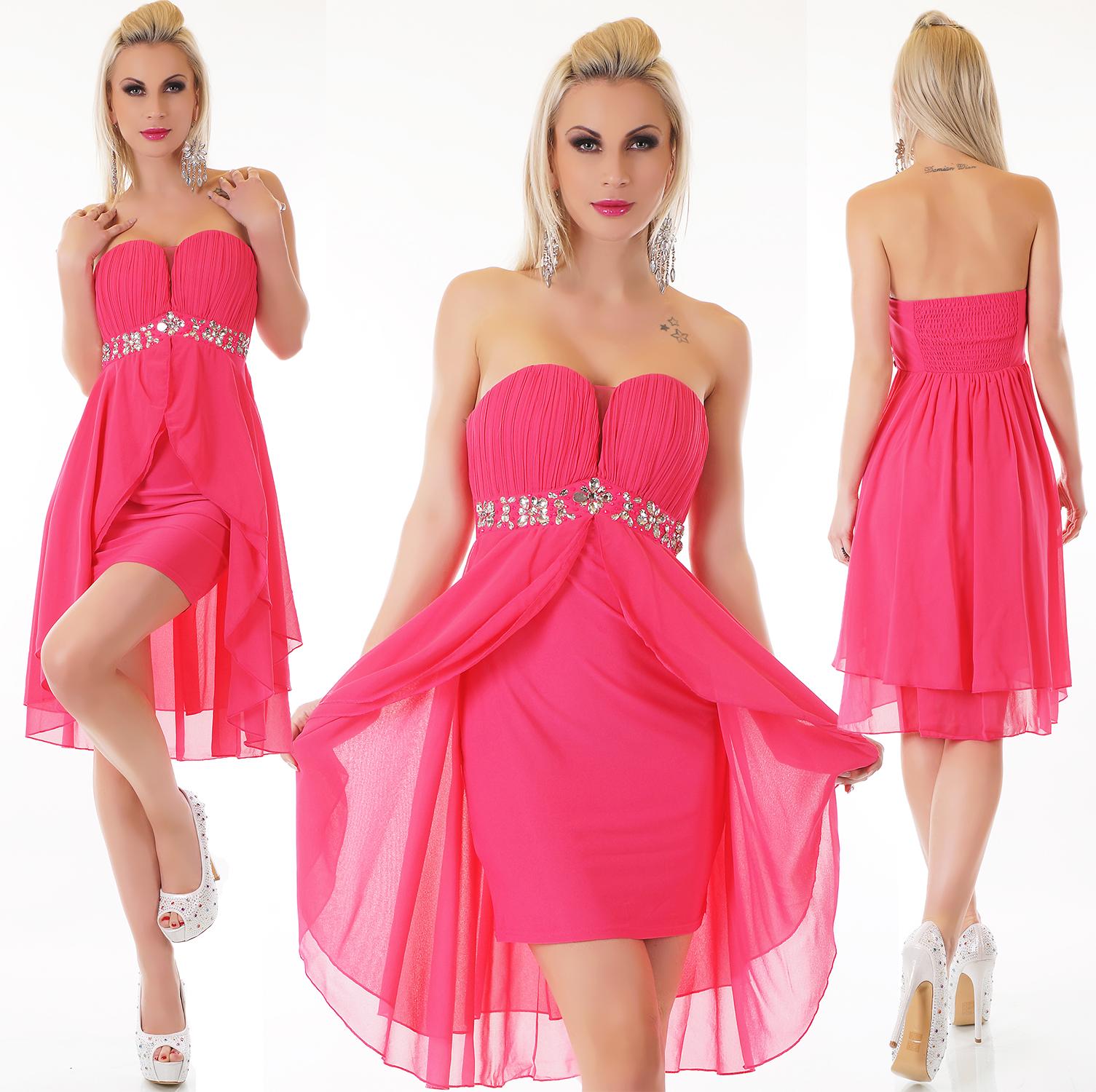 Trendstylez - Bandeau-Chiffon-Kleid mit Strass Abendkleid