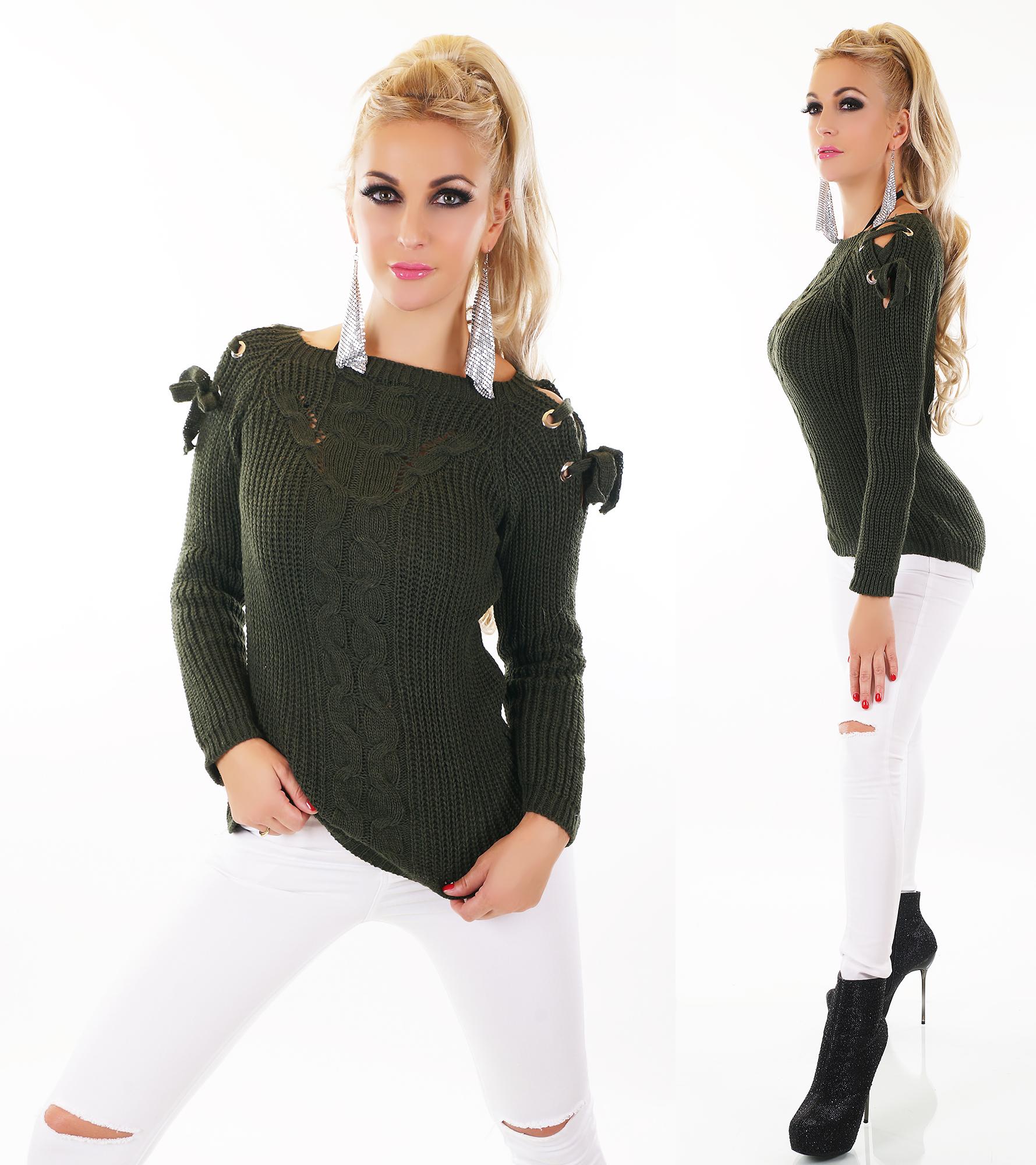 trendstylez grobstrick pullover damen mit zopfmuster schn rleiste und cut outs. Black Bedroom Furniture Sets. Home Design Ideas