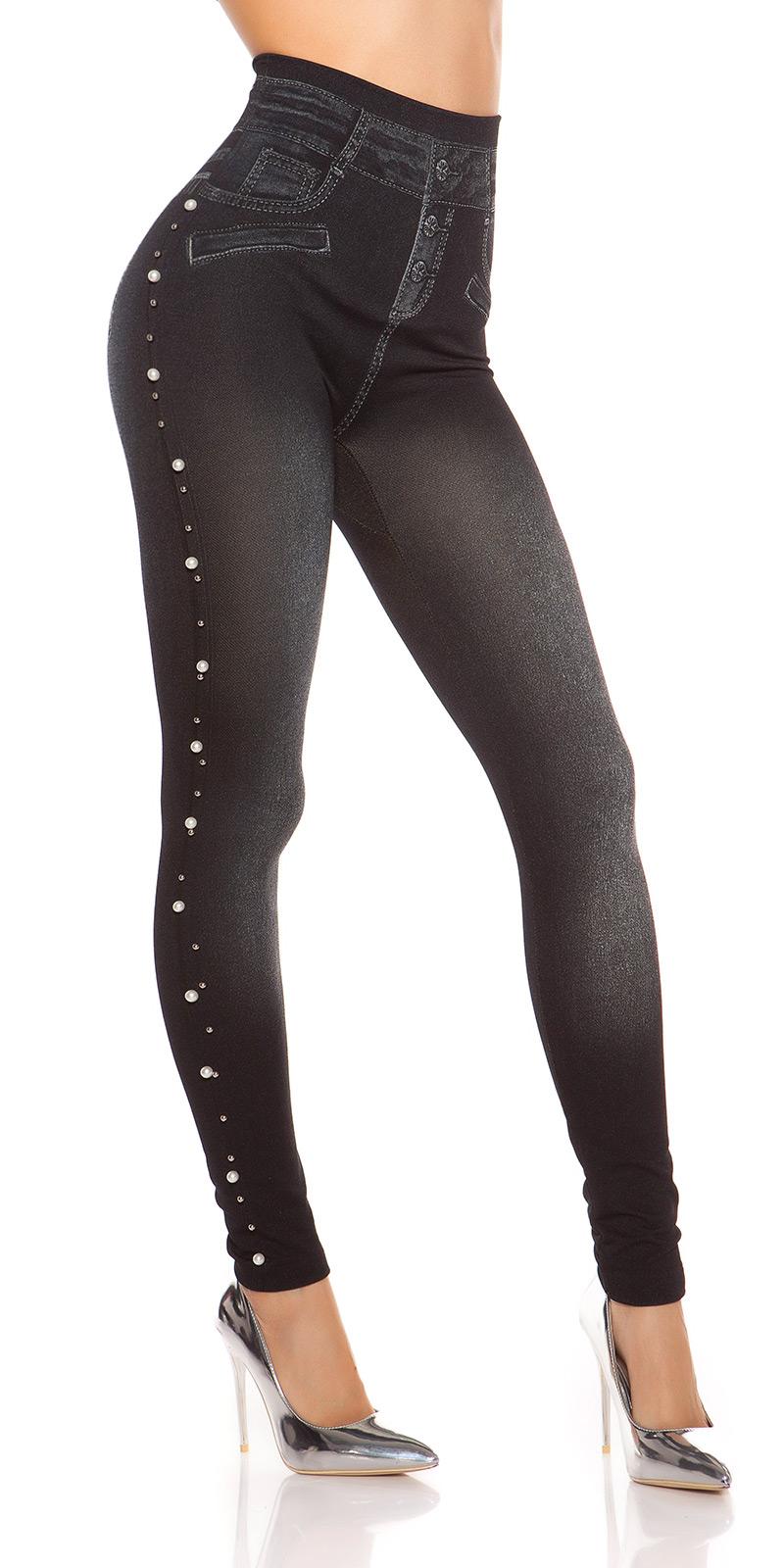 Jeans Mit Schmuckperlen : trendstylez high waist leggings in jeans optik ~ Frokenaadalensverden.com Haus und Dekorationen