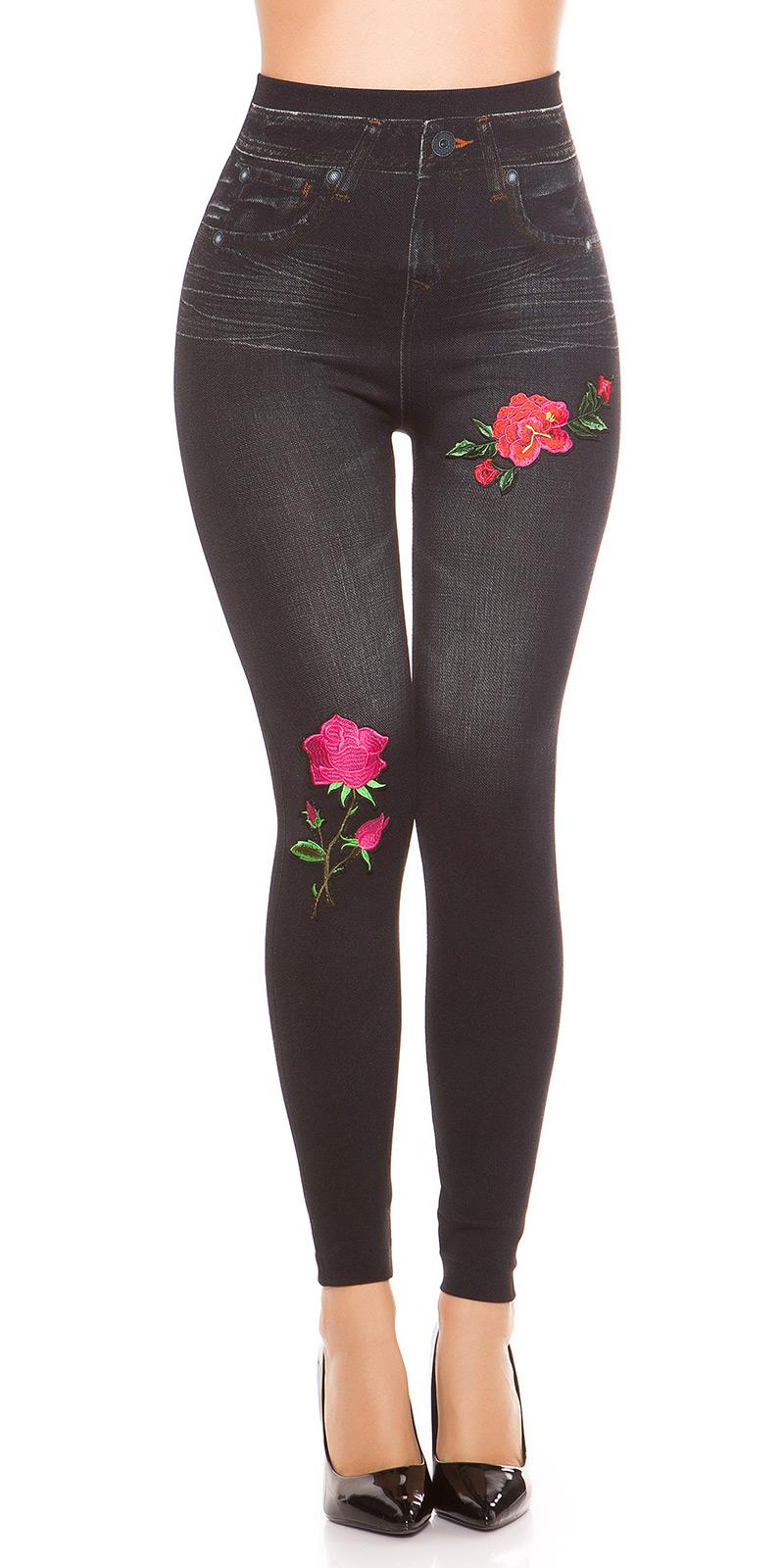 trendstylez leggings in jeans optik mit bl ten patch. Black Bedroom Furniture Sets. Home Design Ideas