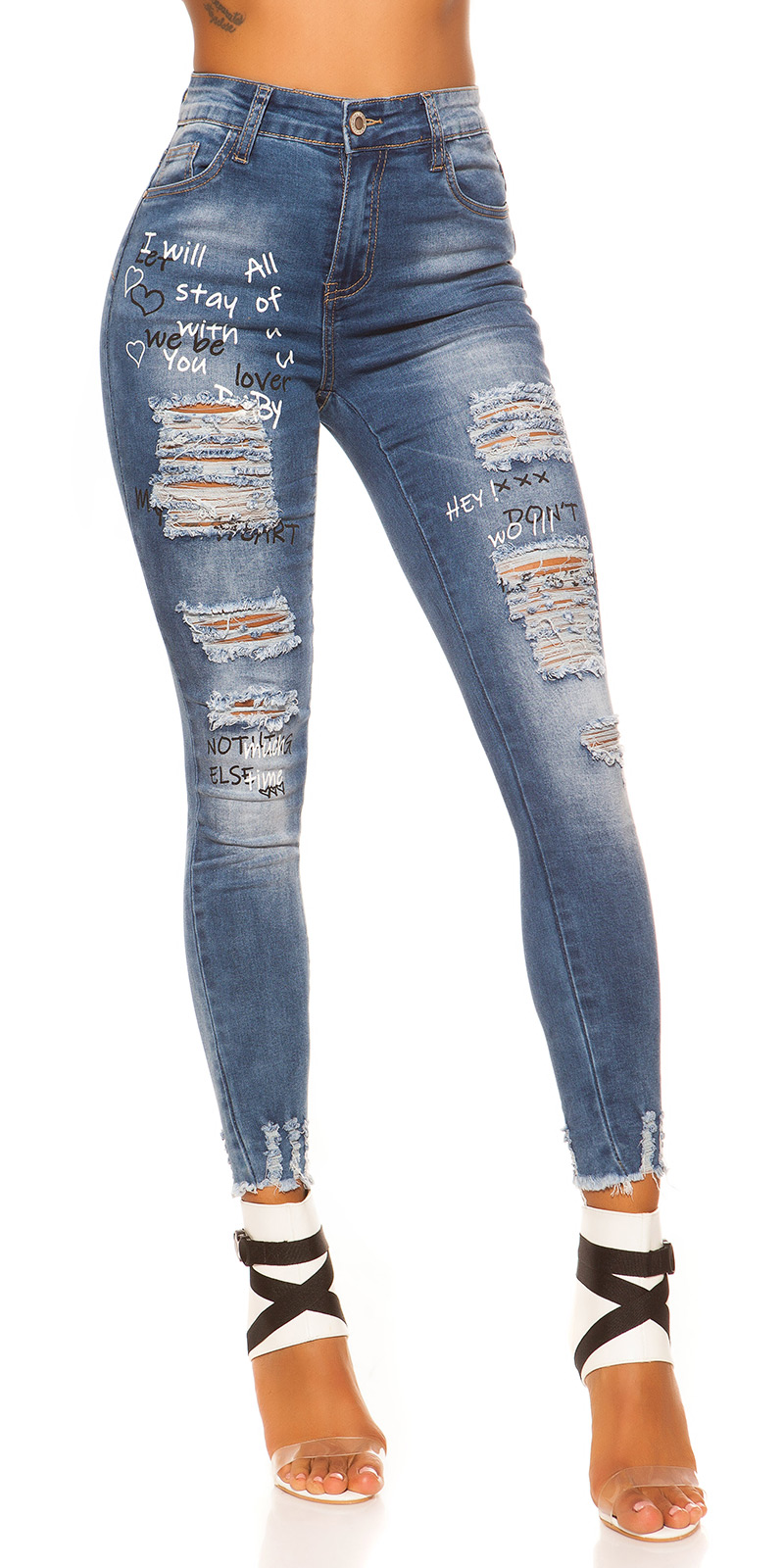 Trendstylez - Damen Used Röhren Skinny Jeans Schriftprint