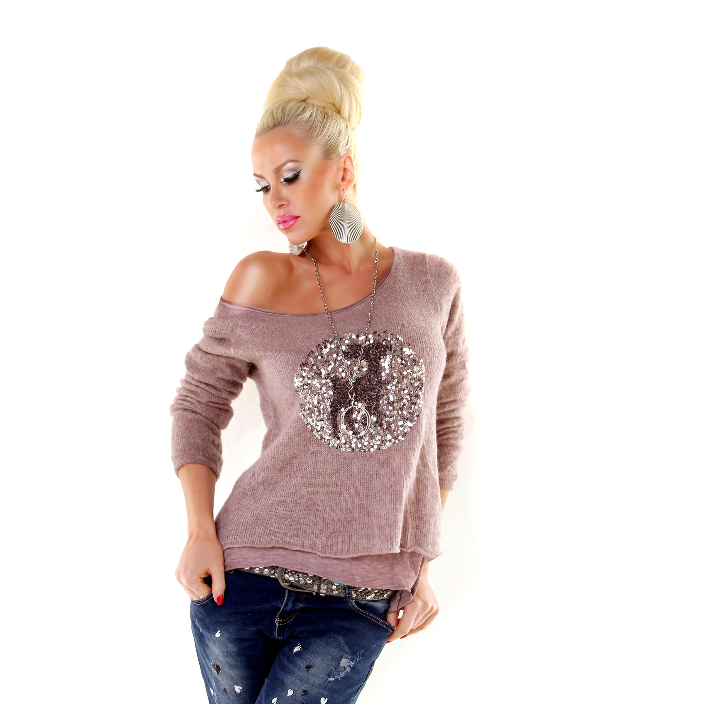 trendstylez 2in1 shirt mit pailletten reh. Black Bedroom Furniture Sets. Home Design Ideas
