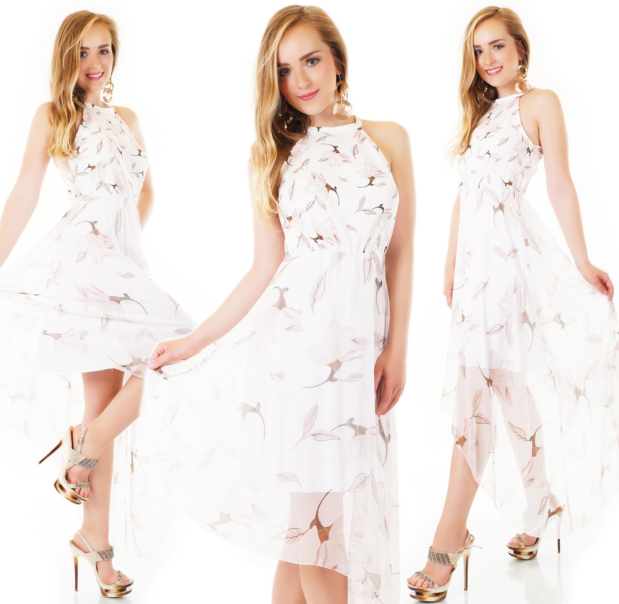Trendstylez - Asymetrisches Vokuhila-Kleid mit Blüten-Prints in weiß