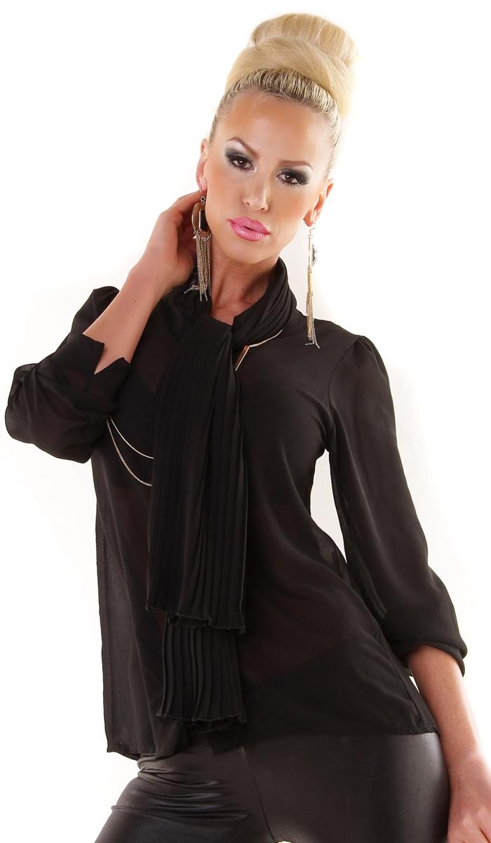 trendstylez moderne bluse mit schal kragen. Black Bedroom Furniture Sets. Home Design Ideas