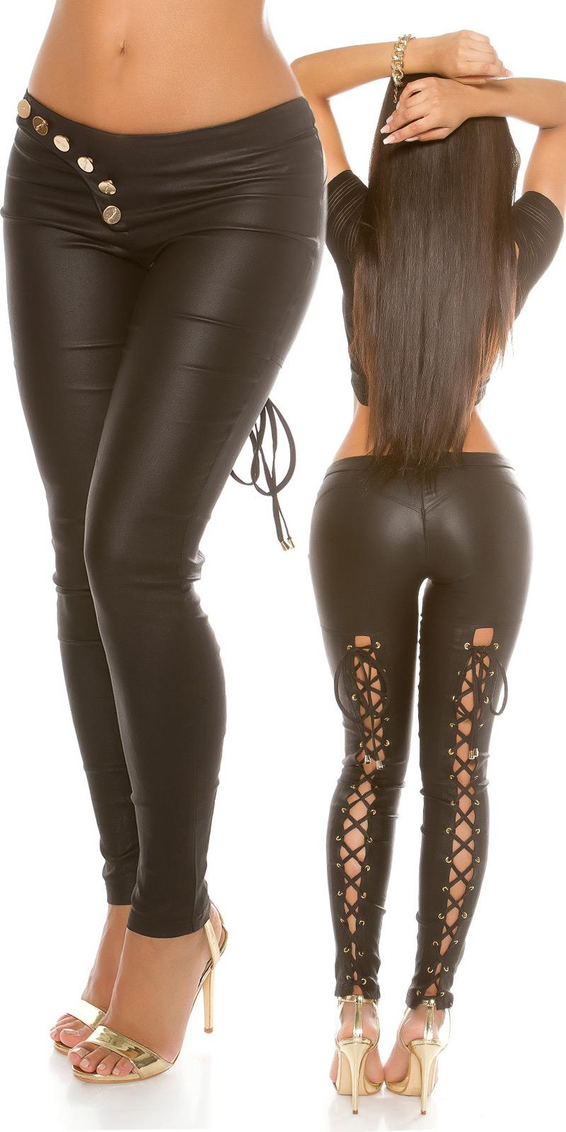 Sexy Lederlook-Hose mit cooler Schnürung und Knopfreihe - schwarz