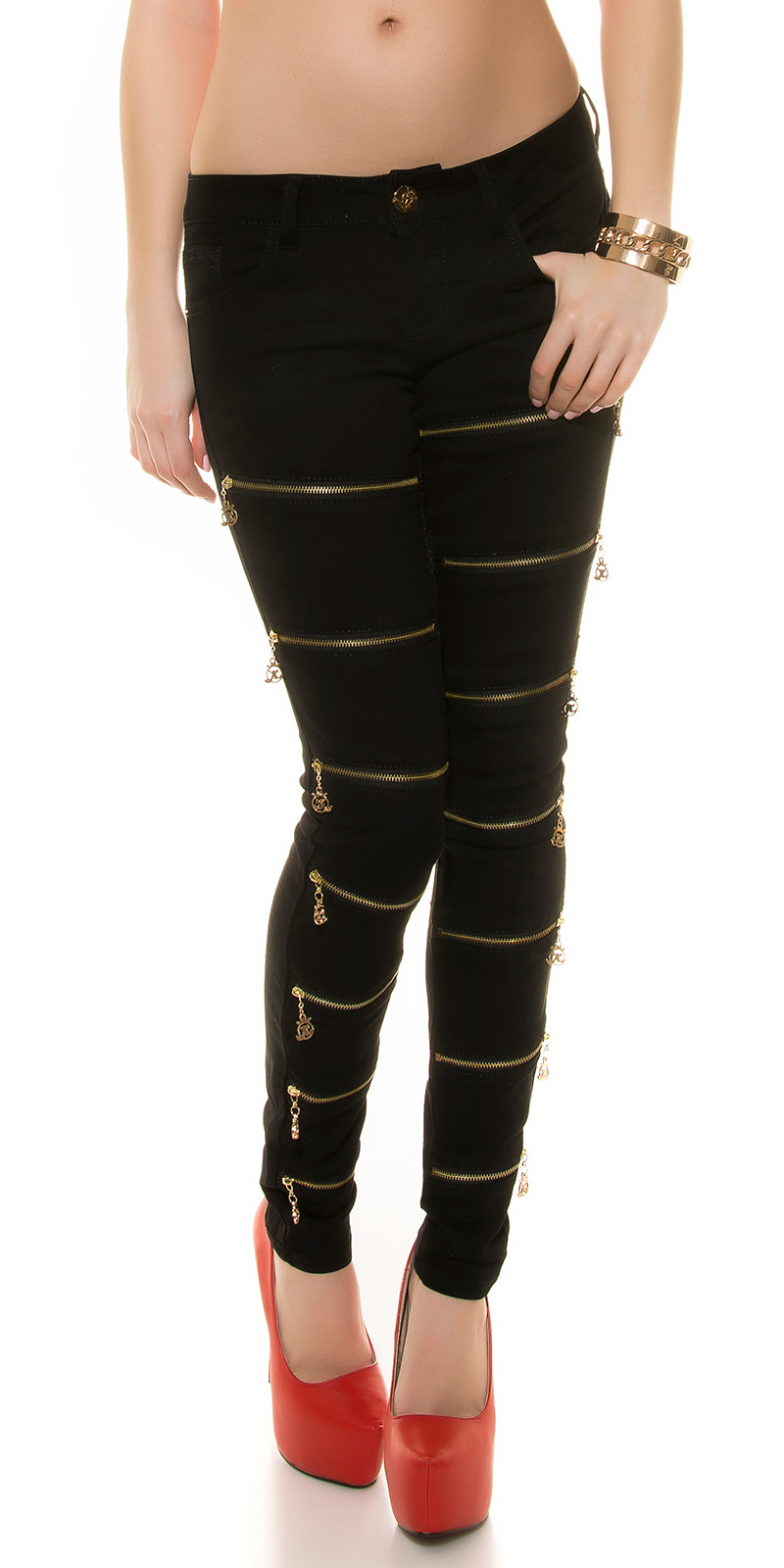 trendstylez skinny jeans mit zier zippern. Black Bedroom Furniture Sets. Home Design Ideas