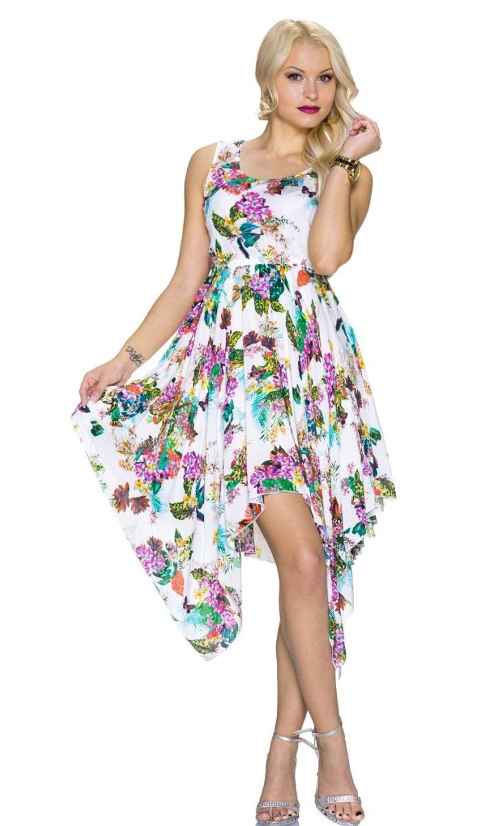 Trendstylez - Blümchen Kleid mit modischen Zipfel-Rock