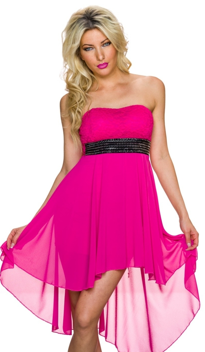 Trendstylez - Trägerloses Vokuhila-Kleid aus Chiffon und Spitze