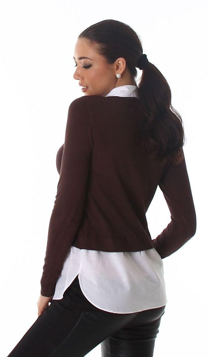 trendstylez moderner pullover mit hemdeinsatz. Black Bedroom Furniture Sets. Home Design Ideas