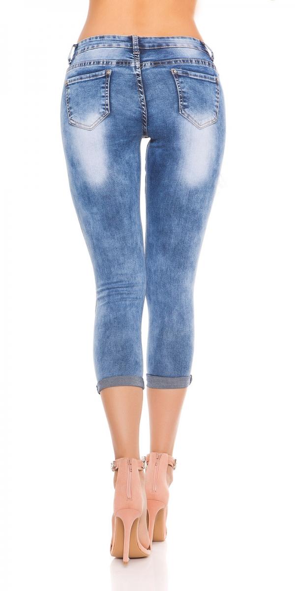 trendstylez 7 8 jeans mit rissen im modischen vintage jeans. Black Bedroom Furniture Sets. Home Design Ideas