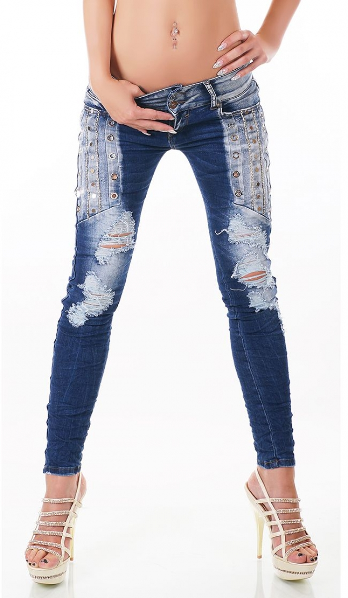 trendstylez crash jeans r hren jeans mti loch sen und strass. Black Bedroom Furniture Sets. Home Design Ideas