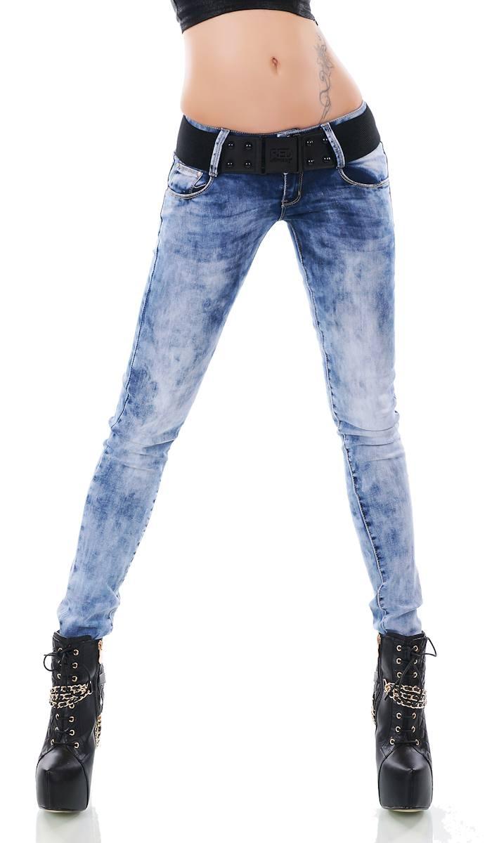 Super Slim Fit Röhren-Jeans Hose Hüftjeans Skinny Stretch Gürtel in acid blue