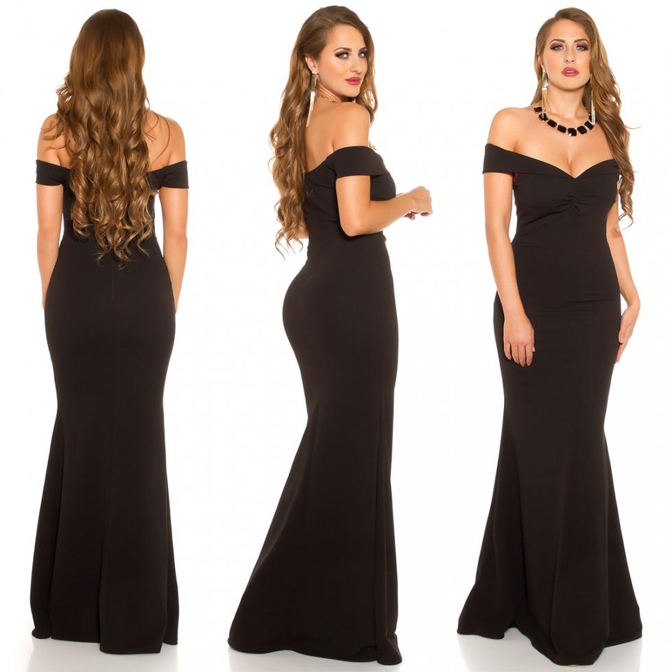 Langes Abendkleid mit Carmen-Ausschnitt - schwarz  eBay