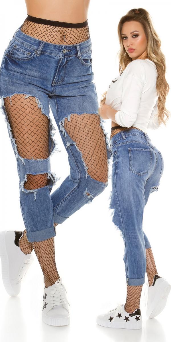 Trendstylez jeans for Boyfriend jeans mit netzstrumpfhose