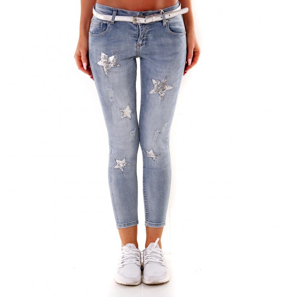 jeans mit sternen trendstylez stretch jeans mit pailletten sternen rich royal super skinny. Black Bedroom Furniture Sets. Home Design Ideas