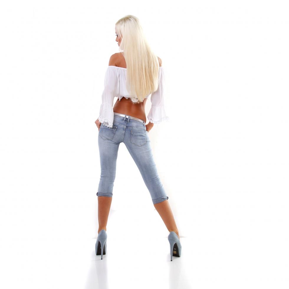 trendstylez capri jeans mit modischen vintage effekten. Black Bedroom Furniture Sets. Home Design Ideas