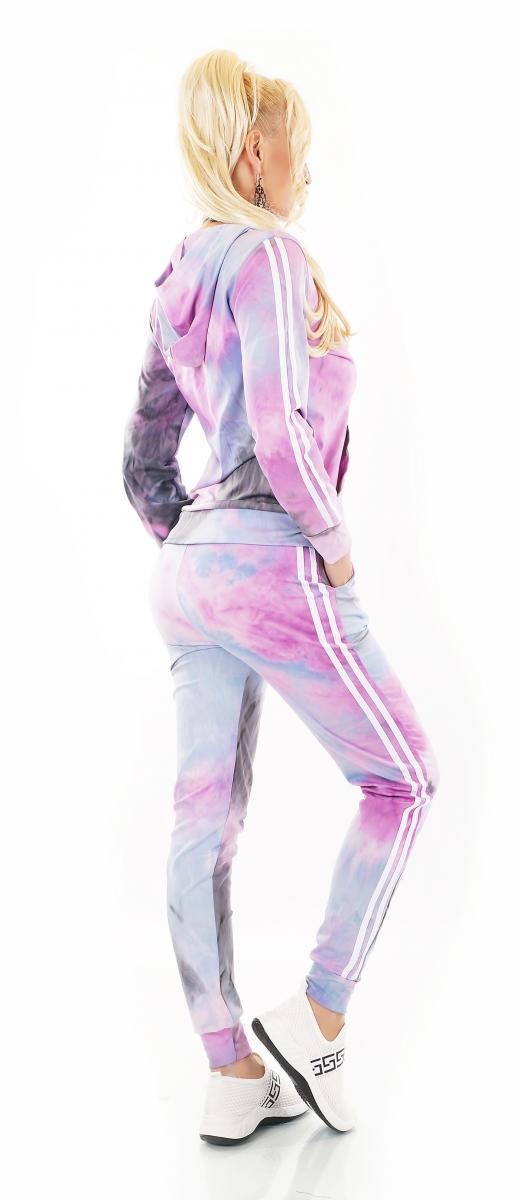 Damen Freizeit Jogging Nicki Haus Sport Anzug Batik 2 Teiler 36 38 40 rosa