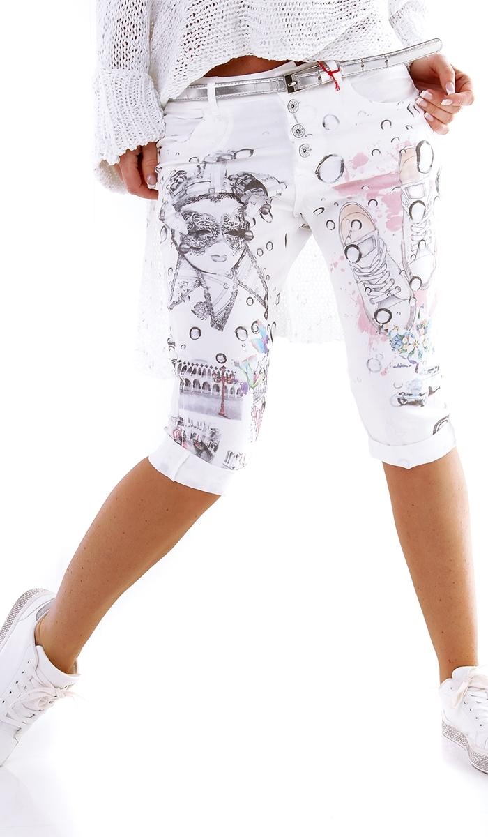 628d5a048e Damen Baggy Baumwoll Chino Bermuda Capri Jeans Hose bunt Prints 34 36 38 40  weiß Jeans ...